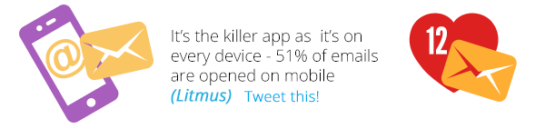 It's the killer app as it's on every device - 51% of emails are opened on mobile (Litmus)