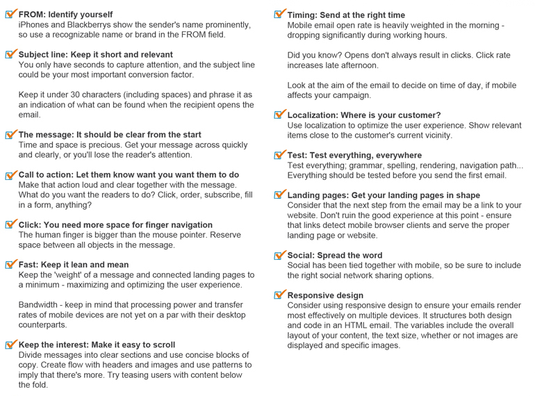 Mobile Email Campaign Checklist