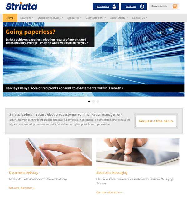 Striata New Website Homepage